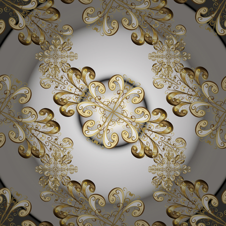 Floral ornament brocade textile pattern, glass, metal with floral pattern on gray and white colors with golden elements. Classic vector golden seamless pattern. Illustration