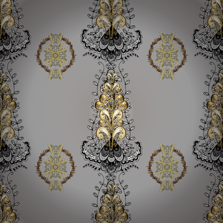 Seamless royal luxury golden baroque damask vintage. Vector seamless pattern with gold antique floral medieval decorative, leaves and golden pattern ornaments on gray and neutral colors.