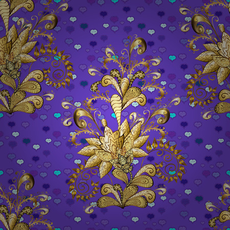 Graphic modern seamless pattern on brown and violet colors. Wallpaper baroque, damask. Seamless floral pattern. Seamless vector background.