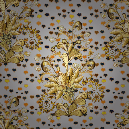 Floral pattern. Golden elements on brown and gray colors. Stylish graphic pattern. Wallpaper baroque, damask. Seamless vector background. Illusztráció