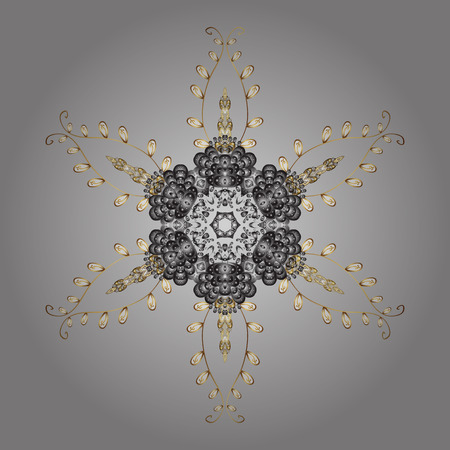 Vector illustration. Winter coloring pages for adult art therapy. Hand drawn antistress snowflake. Template for cover, poster, t-shirt or tattoo.