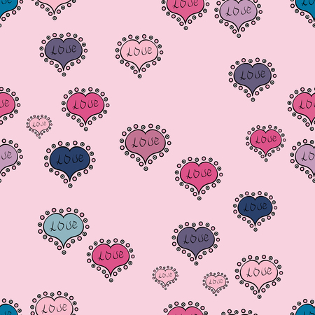 Love romantic theme. Subtle vector pattern with tiny neutral, black and pink hearts on backdrop. Valentines day background. Simple minimalist geometric seamless texture. Modern design for decor.