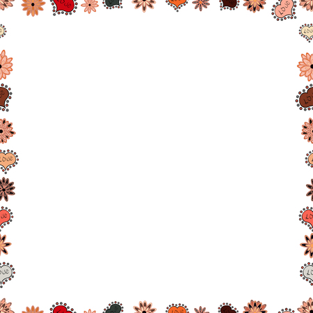 Doodle frame consists of black, white and pink border. Vector Background seamless pattern with hand drawn Frame doodle. Seamless.