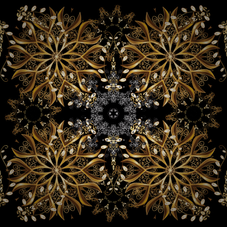 Seamless pattern on black, brown, beige colors with golden elements. Openwork delicate golden pattern. Brilliant lace, stylized flowers, paisley. Oriental style. Vector. Seamless golden texture curls.