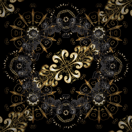 Damask seamless repeating background. Gold floral ornament in baroque style. Gold Wallpaper on texture background. Golden element on black and gray colors.