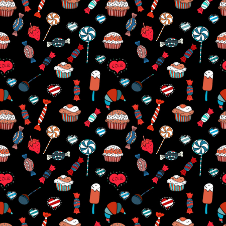 Of sweets on red, white and black background. Seamless candies. For game, postcard, invitation and web design. Flat style Vector illustration.