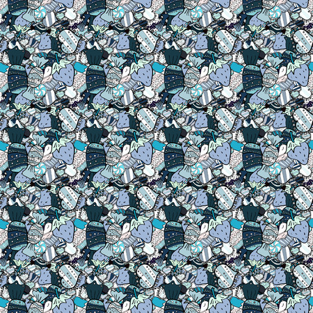 Quirky, abstract hand drawn seamless vector candy pattern. Colorful, retro hand illustrated Halloween treats on a blue, black and neutral background.