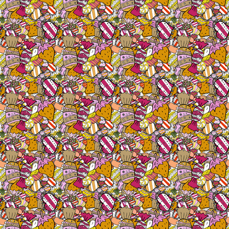 Vector illustration. Cupcake pattern. Nice birthday pattern on black, yellow and white. Seamless of hand drawn vintage cute cupcakes and muffins. 矢量图像