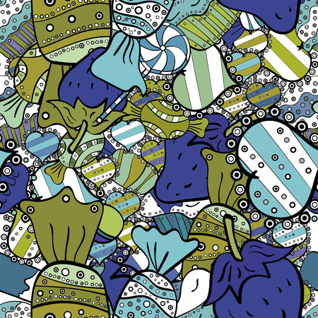 Vector illustration. Seamless pattern with sweet Cupcakes pattern. Nice birthday background on blue, white and black. Sweets background design.