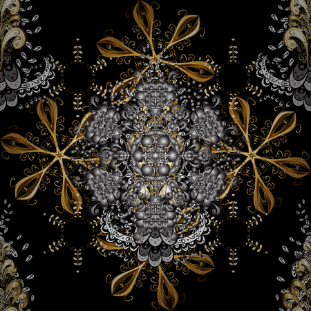 Seamless oriental ornament in the style of baroque. Vector traditional classic golden seamless pattern on gray and black colors.