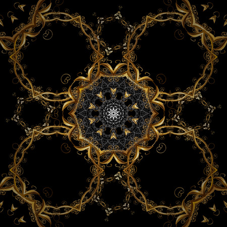 Classic vector golden seamless pattern. Floral ornament brocade textile pattern, glass, metal with floral pattern on black and brown colors with golden elements.