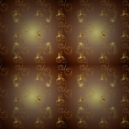 Ornate decoration. Golden pattern on a colors with golden elements. Luxury, royal and Victorian concept. Vector vintage baroque floral seamless pattern in gold. Иллюстрация