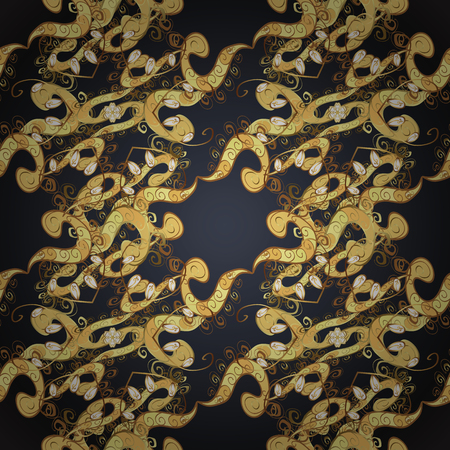 Gold floral ornament in baroque style. Golden element on black colors. Antique golden repeatable wallpaper. Damask seamless repeating pattern.