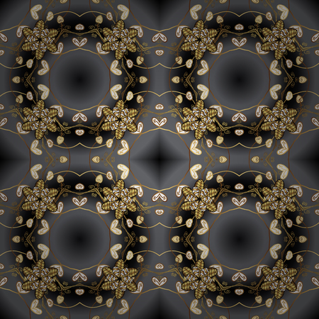 Damask seamless repeating background. Gold floral ornament in baroque style. Golden element on black colors. Gold Wallpaper on texture background.