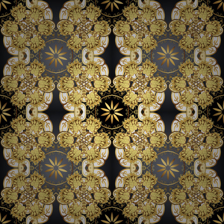 Seamless vintage pattern on black colors with golden elements. Christmas, snowflake, new year 2019.