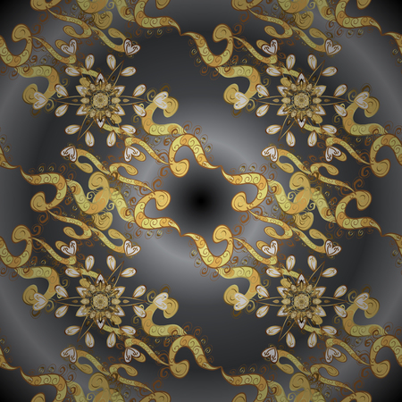 Vector seamless pattern on black colors with golden elements. Damask seamless pattern for design.