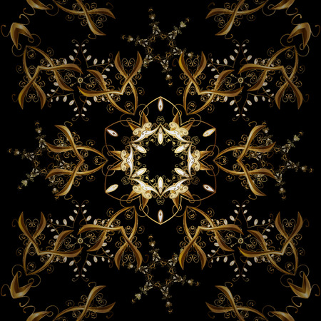 Patina. Carving. Black, brown backdrop with gold trim. Small depth of field. Seamless element woodcarving. Furniture in classic style. Luxury furniture. Pattern on black and brown colors with elements Illustration