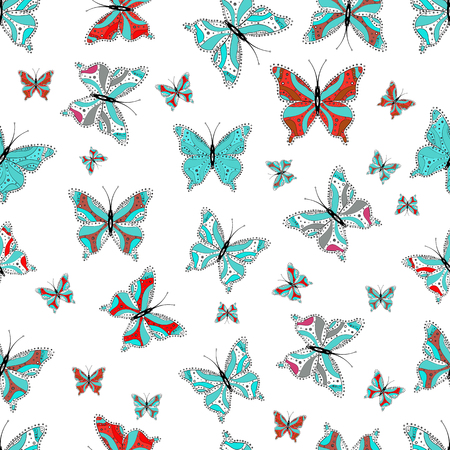 Vector butterflies pattern. Pictures in blue, white and black colors witg tropical butterflies. Abstract seamless background. Perfect for sketchs, web page backgrounds, surface textures, textile.