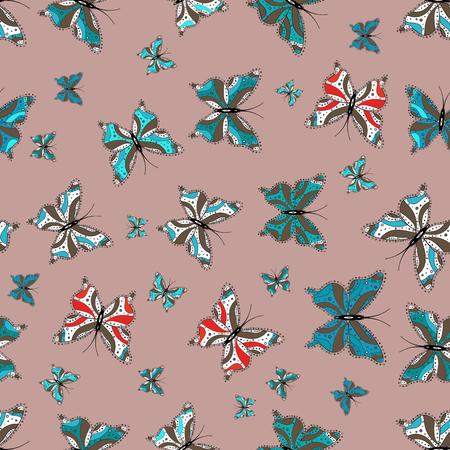 Beautiful background of colorful butterflies. Abstract seamless pattern for clothes, boys, girls, sketch. Hand-drawn illustration. Vector. 向量圖像