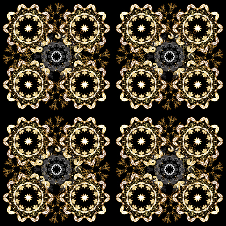Vector illustration. Oriental style arabesques. Seamless golden textured curls. Vector golden pattern. Brown and black colors with gold elements.