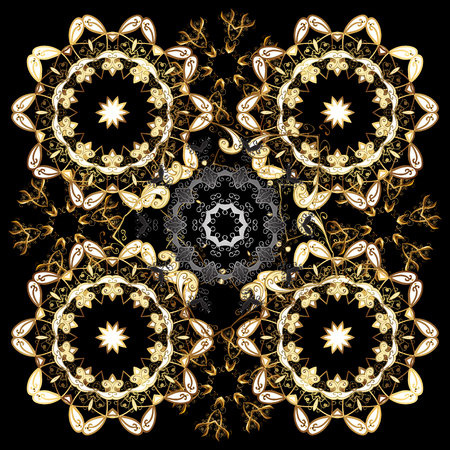 Christmas, snowflake, new year. Golden seamless pattern on brown and black colors with golden elements. Seamless vintage pattern on brown and black colors with golden elements. Stock Vector - 125645413