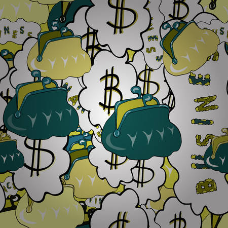 Finance pattern on green, yellow and white background. Seamless pattern business pattern. Icon gold coin dollar. Vector illustration. American Dollar The king of currencies. Ilustração