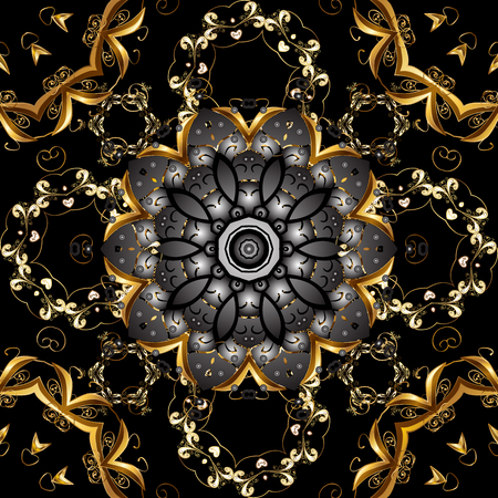 Vector seamless pattern on black and gray colors with golden elements. Damask seamless pattern for design.