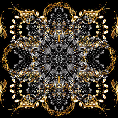 Seamless golden pattern. Gray and black colors with golden elements. Gold metal with floral pattern. Vector golden floral ornament brocade textile and glass pattern.