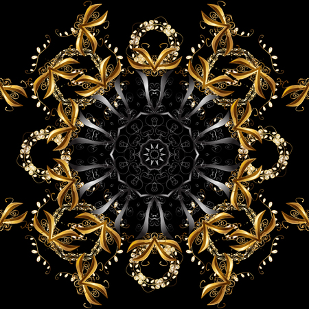 Christmas, snowflake, new year. Seamless vintage pattern on brown and black colors with golden elements. Golden seamless pattern on brown and black colors with golden elements.