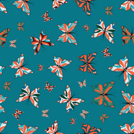 Hand-drawn illustration. Vector. Abstract seamless pattern for clothes, boys, girls, sketch. Beautiful background of colorful butterflies.