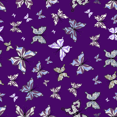 Vector. Butterflies pattern. Illustration on white, purple and black colors. Fashion Fabric Design. Abstract seamless background.