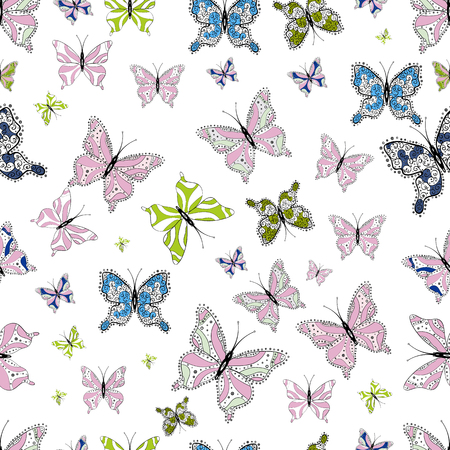 Butterflies seamless pattern in white, neutral and black colors. Perfect for web page backgrounds, sketchs, textile, surface textures. Cute Vector illustration. Иллюстрация