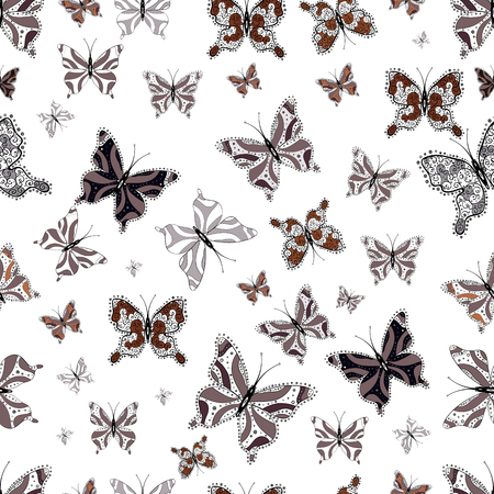 Butterflies seamless pattern in brown, black and white colors. Perfect for web page backgrounds, sketchs, textile, surface textures. Cute Vector illustration. Иллюстрация