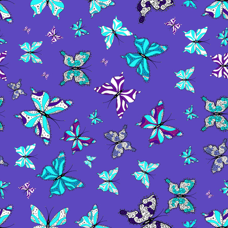 Vector traditional folk nice decor on blue, white and violet background for clothing design. Cute trend butterflies.