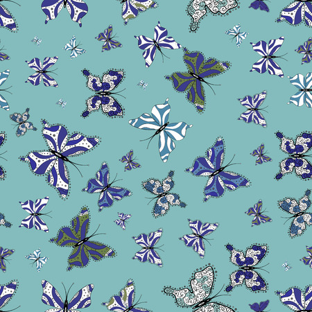Butterfly pattern blue, violet and whites. Seamless. Superb background for design of fabric, paper, wrappers and sketch. Vector.