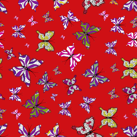 Hand-drawn illustration. Beautiful seamless pattern of cute butterflies. Vector. Fashion Fabric Design. Pictures in white, purple and red colors.