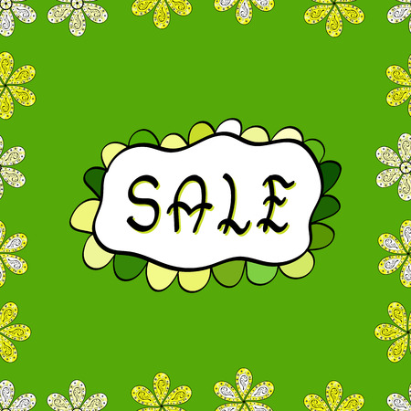 Vector. Lettering. Seamless. Lettering SALE. Picture in yellow, green and white colors. Trendy, cute poster to advertise your goods.