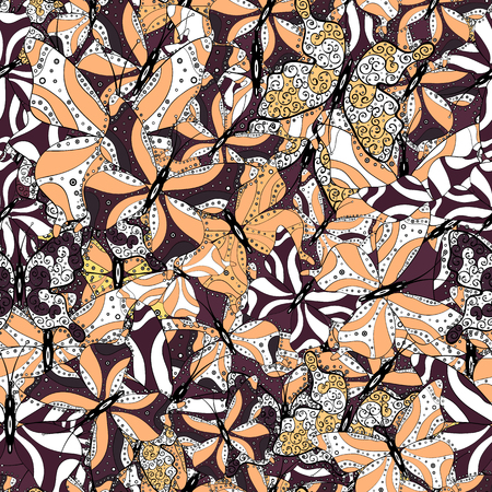 Illustration in black, white and beige colors. Abstract seamless pattern for clothes, boys, girls, sketch. Vector. Vector with butterflies.
