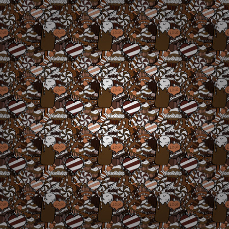 Wrapping paper. Seamless pattern of cupcakes on a white, black and brown background. Vector illustration. 일러스트