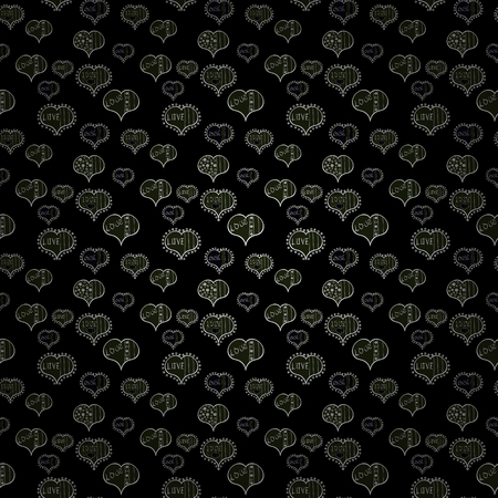 Our love is magic. Vector illustration. Seamless pattern with hearts. Love card. Cartoon hearts love on black, gray and white colors on cute background.