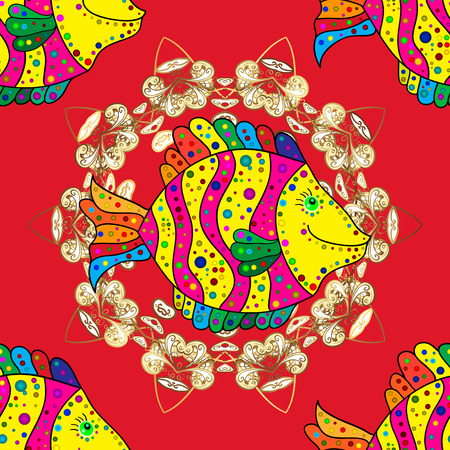 Fishes on magenta, red and yellow colors. Vector marine seamless pattern with cartoon colorful fishes. Sea life summer background. Illustration