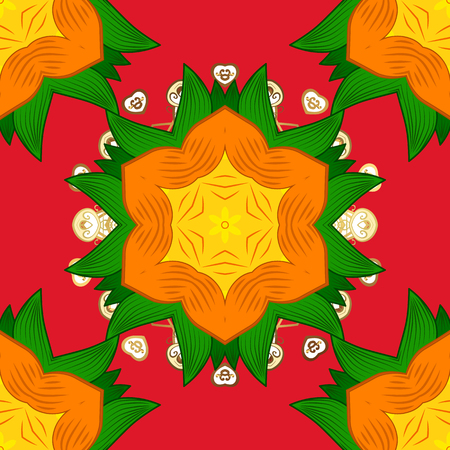 Flower pattern seamless on red, orange and green colors, hand-drawn chamomiles, daisies. Repeating floral backdrop, Elegant red, orange and green flowers sketch.