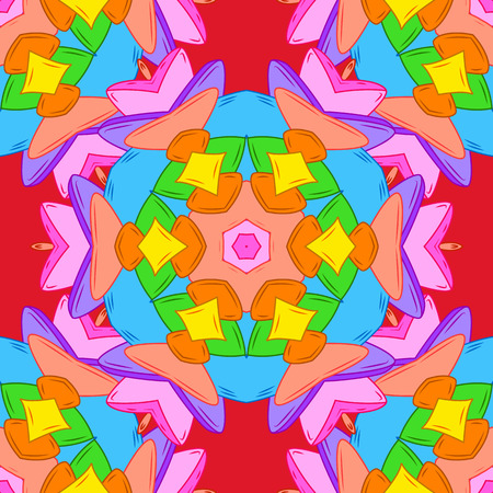 Abstract seamless pattern with hand drawing flowers. Vector illustration. Flowers on orange, blue and pink colors.