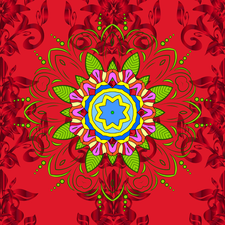 Fabric pattern texture daisy flowers detail. Flowers on red, green and yellow colors.  イラスト・ベクター素材
