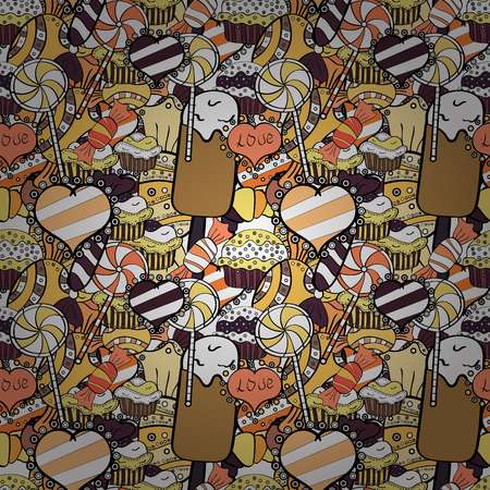 Wrapping paper for Christmas gifts. Christmas vector seamless pattern with candies on black, beige and white background. New year Vector illustration.
