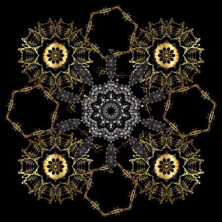 Ornate decoration. Damask gold abstract flower seamless pattern on black and gray colors. Vector illustration.