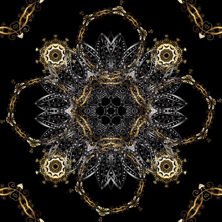 Traditional orient ornament. Seamless classic vector black and gray and golden pattern. Classic vintage background. Иллюстрация