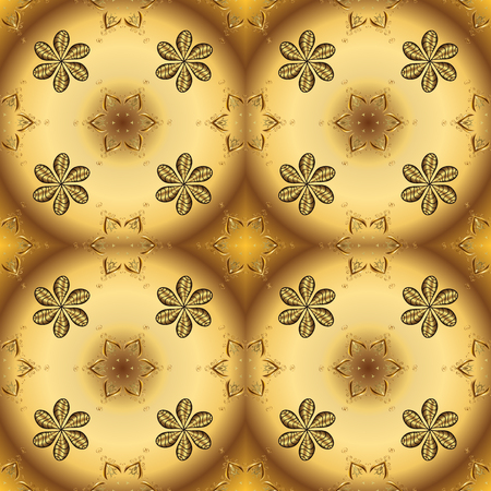Golden pattern on yellow and brown colors with golden elements. Vector oriental ornament. Seamless golden pattern.