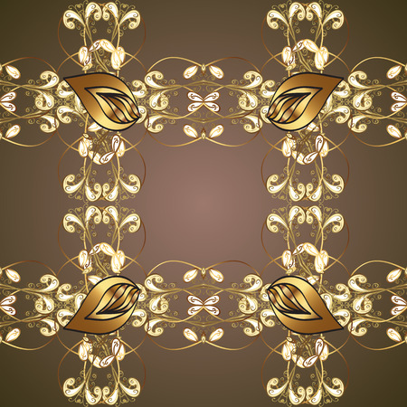 Damask seamless pattern for design. Vector seamless pattern on brown and beige colors with golden elements.
