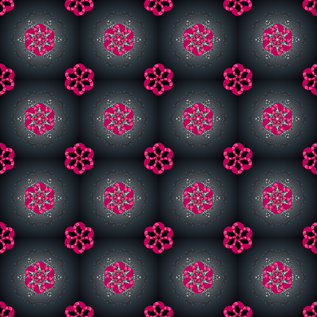 Pattern. Seamless Abstract Retro Background Design. Gray, blue and magenta on colors. Vector. Tender fabric pattern.